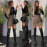 Женская модная юбка с высокой посадкой из эко-кожи на пуговицах (в расцветках), фото 3