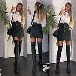 Женская модная юбка с высокой посадкой из эко-кожи на пуговицах (в расцветках), фото 5
