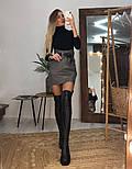 Женская модная юбка с высокой посадкой из эко-кожи на замше  (в расцветках), фото 2