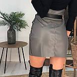 Женская модная юбка с высокой посадкой из эко-кожи на замше  (в расцветках), фото 3