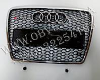 Решетка радиатора RS6 на Audi A6 2008-2012 (черная с хром окантовкой)