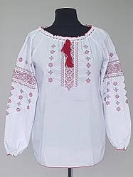 Женская блузка вышиванка белого цвета с красным орнаментом (52-60 р)