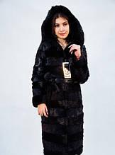 Шуба-пальто  из меха нутрии с капюшоном рр 42-58