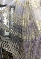 Тюль для гостинной с красивой вышивкой в 4 ряда не дорого Цвет:крем-золото №1310