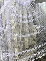 Тюль для спальни или гостинной с красивой вышивкой турецкий фатин №5640 Цвет: Белый