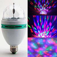Обертова новорічна диско-лампа диско куля світломузика з патроном і розеткою, фото 1