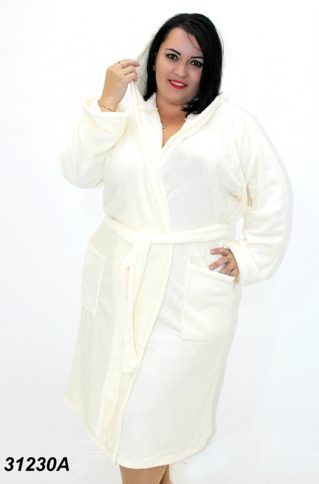 Женский  махровый халат , молочного цвета 54(2XL). 56(3XL). 58(4XL)