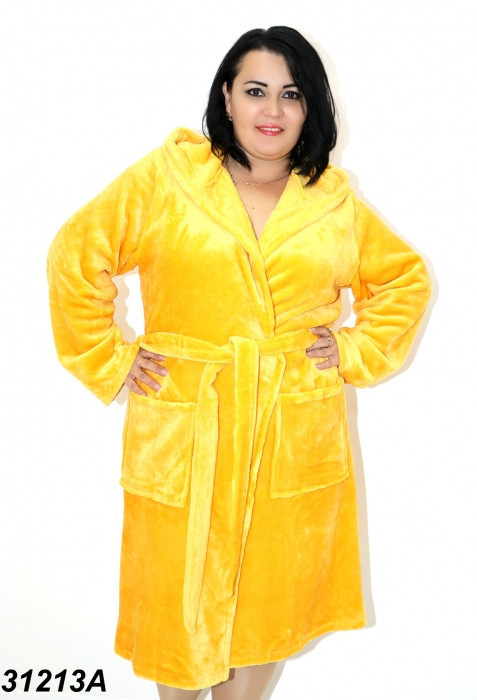 Желтый  махровый халат 54(2XL). 56(3XL). 58(4XL)