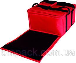 Термосумка для доставки пиццы красная застёжка липучка, фото 3