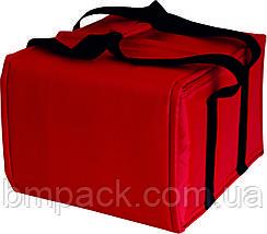 Термосумка для доставки пиццы красная застёжка липучка, фото 2