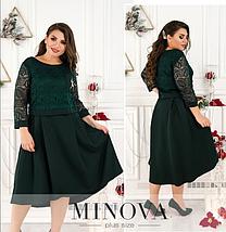Нарядное платье на праздник ( мокко, бодро, зеленый,черный ) батал  Размеры: 50,52,54,56,58, фото 3