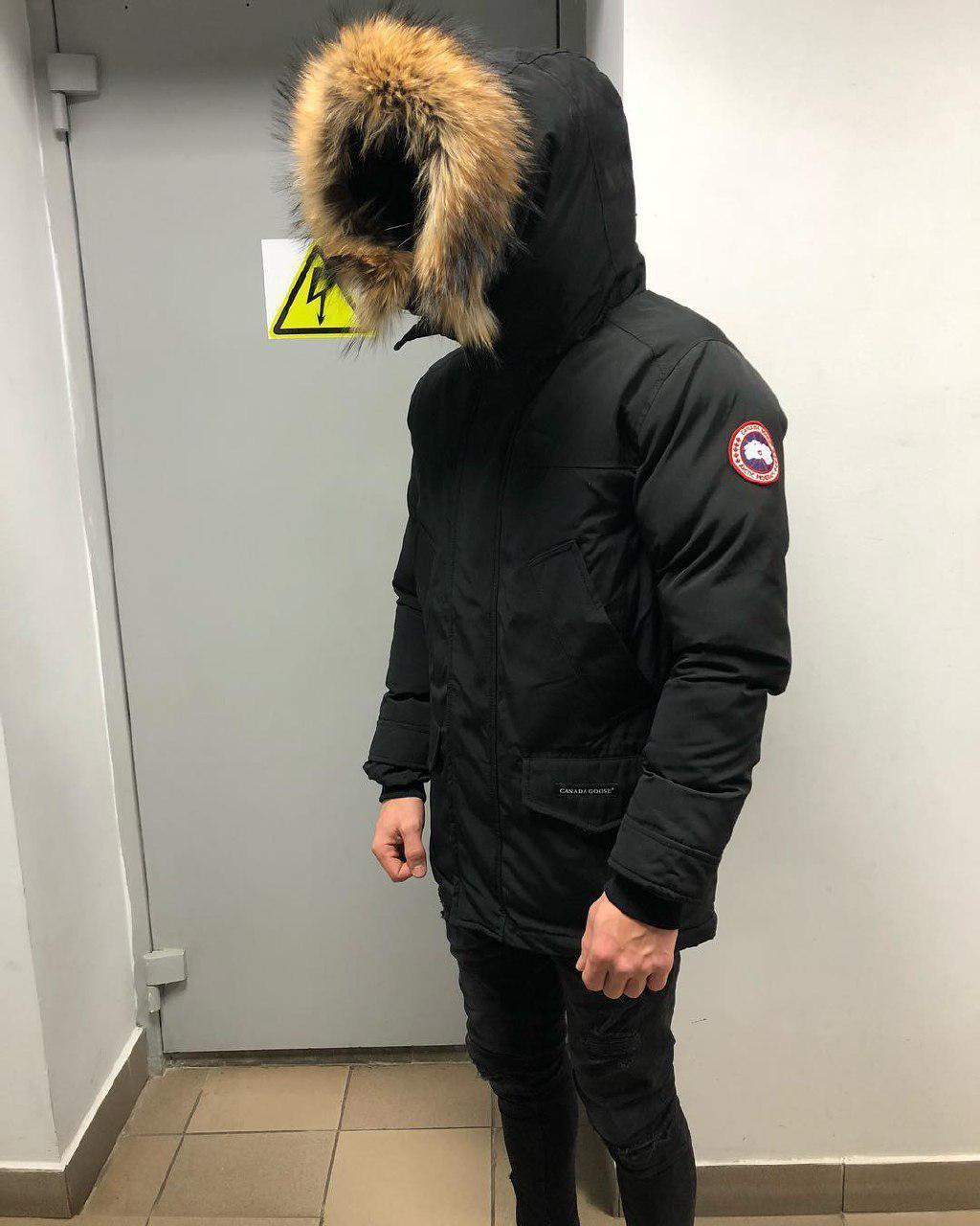 Мужская зимняя парка Canada Goose black (реплика)