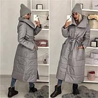 Женское платьто. Зимнее женское пальто серого цвета. Женское длинное зимнее пальто с поясом