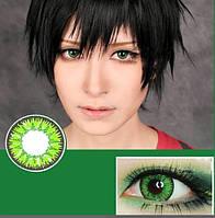 Цветные линзы для глаз, зеленые + контейнер для линз в подарок