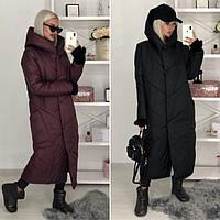 Женское платьто. Зимнее женское пальто черного цвета. Женское длинное зимнее пальто с капюшоном