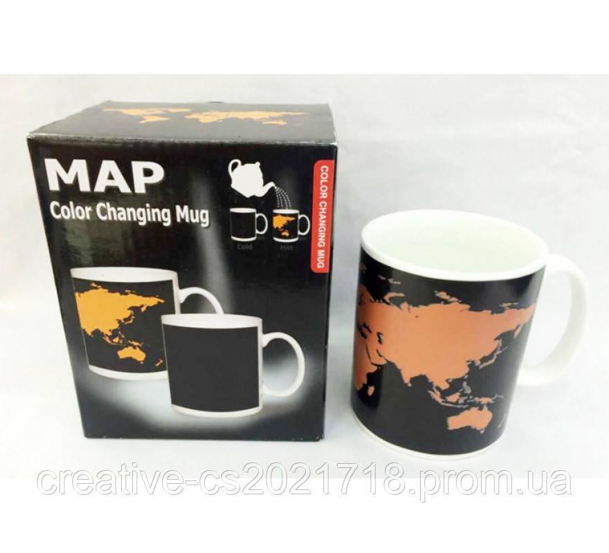 Чашка с терморисунком Карта мира ( хамелеон )