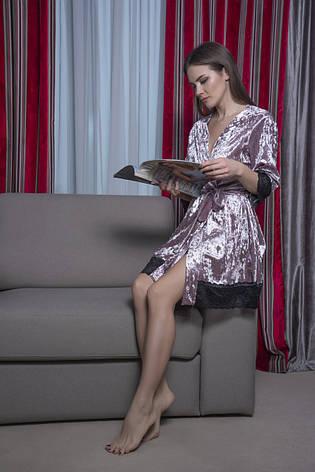 Женский велюровый халат с кружевом, фото 2