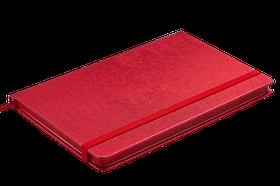 Блокнот діловий INGOT 125x195мм, 80арк., клітинка, обкладинка зі штучної шкіри, червоний