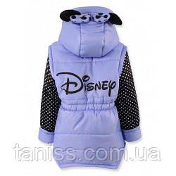 Осіння куртка для дівчаток Міккі, знімні рукави, зростання 104,110,116,128,134,140 на синтепоні