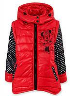 Осенняя куртка для девочек Микки, рукава съемные, рост 104,110 на синтепоне, красная