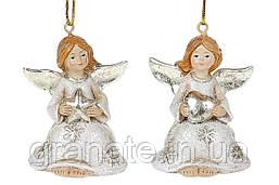 """Новогоднее украшение игрушка """"Ангел"""" 5.5 см (12 шт в упаковке 2 вида), цвет - шампань"""