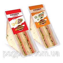 Упаковка сэндвичей в треугольные лотки