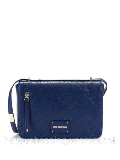 Стильная синяя сумка crossbody из искусственной кожи с тисненым логотипом Love Moschino