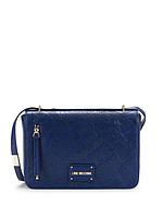 Стильная синяя сумка crossbody из искусственной кожи с тисненым логотипом Love Moschino, фото 1