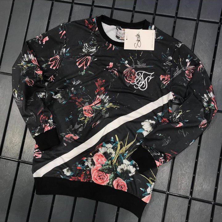 Мужской свитшот Sik Silk Black/white flowers