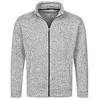 Флисовая кофта мужская теплая серого цвета