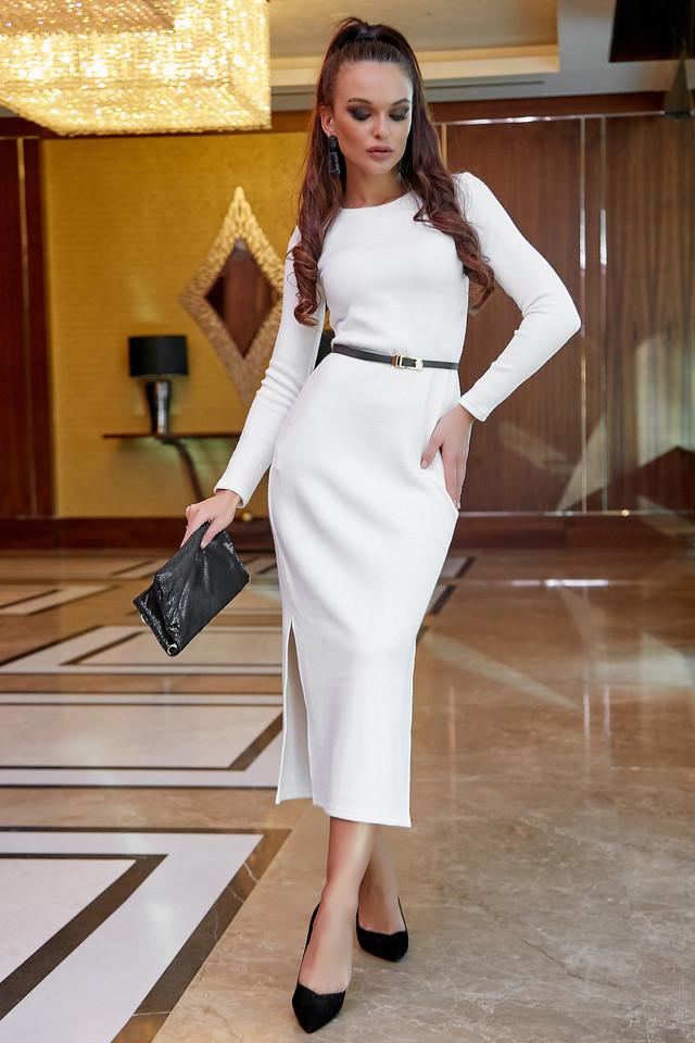 Облегающее платье женское р. от 42 до 48, вязка ангора, белое