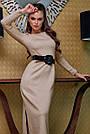 Элегантное платье женское р. от 42 до 48, вязка ангора цвет капучино, фото 2