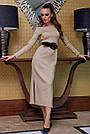 Элегантное платье женское р. от 42 до 48, вязка ангора цвет капучино, фото 3