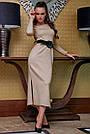 Элегантное платье женское р. от 42 до 48, вязка ангора цвет капучино, фото 4