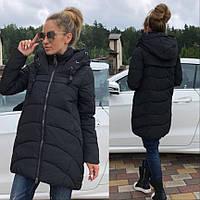 Пальто зимнее женское. Зимняя женская курточка на молнии черного цвета. Женское зимнее пальто с капюшоном