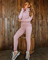 Женский теплый вязаный костюм, свитер под горло с узором и брюки, в расцветках