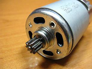 Двигатель аккумуляторного шуруповерта 12В шестерня 8 мм 9 зубов, фото 2