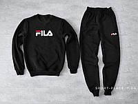 Мужской спортивный костюм Fila черный (ЗИМА) с начесом , свитшот большая эмблема, штаны реплика
