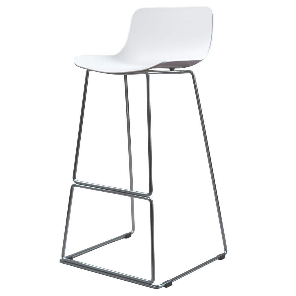Барный стул PETAL (Петал) белый пластик от Concepto ножки хром