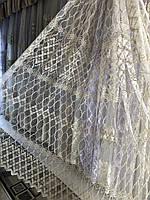 Занавеска на основе фатиновой сетки для гостинной , спальни  Цвет: золотистый №717