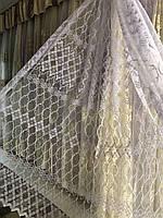 Занавеска на основе фатиновой сетки для гостинной , спальни  Цвет: белый №717