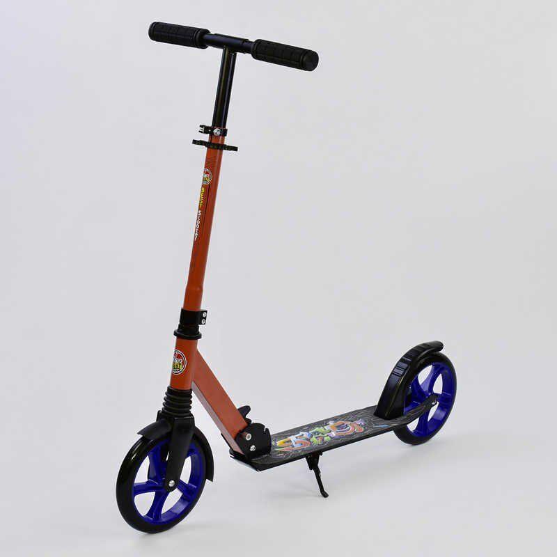Самокат 2колесный для школьника Best Scooter 00098, амортизация, задний тормоз, красная рама с синими колесами