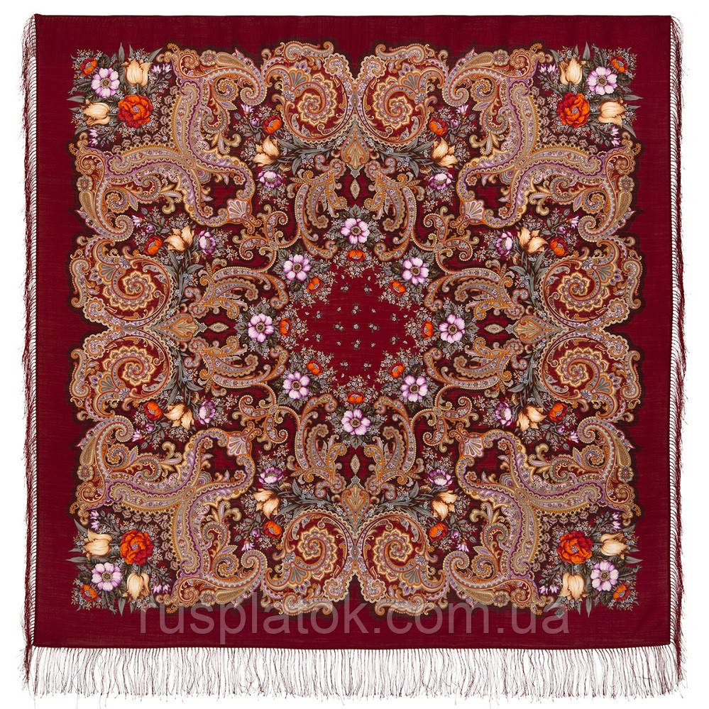 Літнє диво 1885-5, павлопосадский вовняну хустку з шовковою бахромою