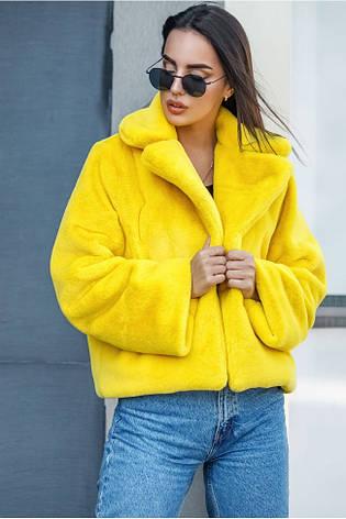 Хит сезона! женская коротка шубка яркая желтая размер  универсальный 42-48, фото 2