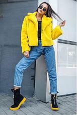 Хит сезона! женская коротка шубка яркая желтая размер  универсальный 42-48, фото 3