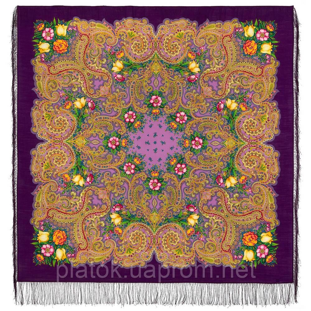 Летнее чудо 1885-15, павлопосадский платок шерстяной  с шелковой бахромой