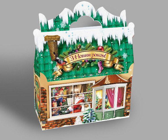 Новогодняя подарочная картонная упаковка для конфет 900 грамм