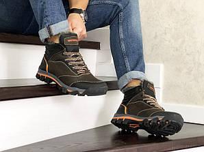 Мужские ботинки Мерелл котричневые натуральная кожa зимние с мехом (реплика) Merrell Black Leather Winter