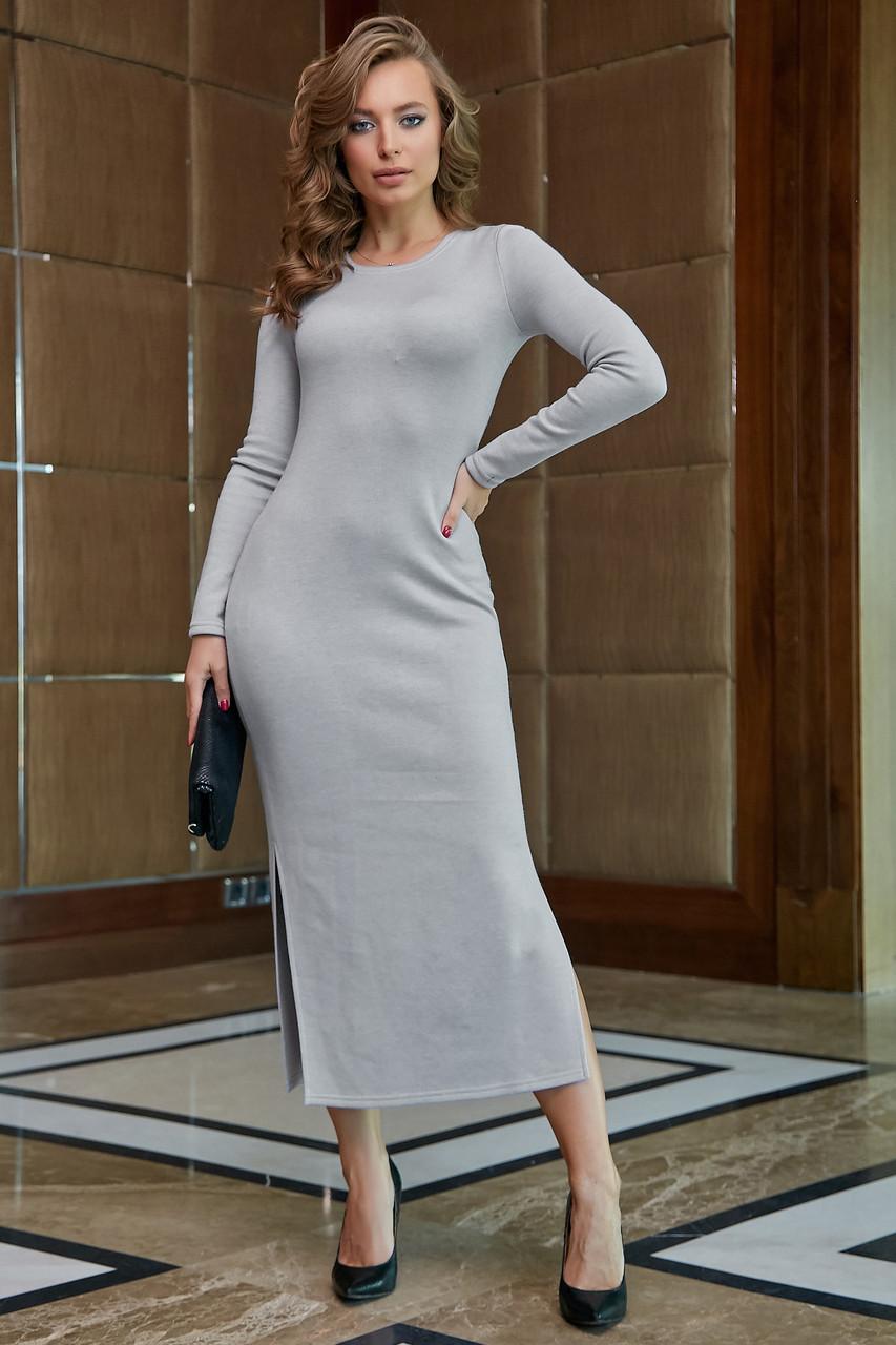 Молодёжное платье женское р. от 42 до 48, вязка ангора, серое