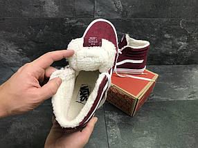 Мужские кроссовки кеды зимние бордовые эко замша внутри белый, мех, фото 3